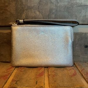 Brand New Coach Silver Leather Wristlet